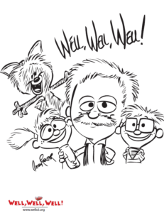 All four puppets from Well Well Well are featured in this free coloring book page
